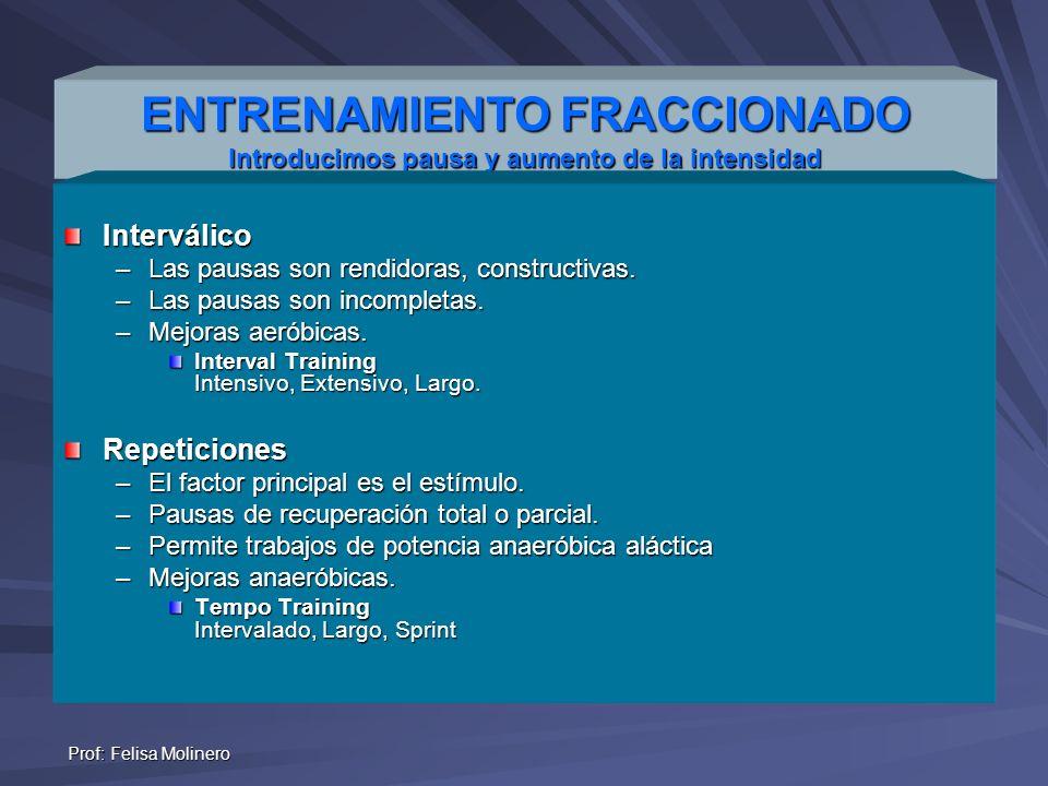 Prof: Felisa Molinero ENTRENAMIENTO FRACCIONADO Introducimos pausa y aumento de la intensidad Interválico –Las pausas son rendidoras, constructivas. –