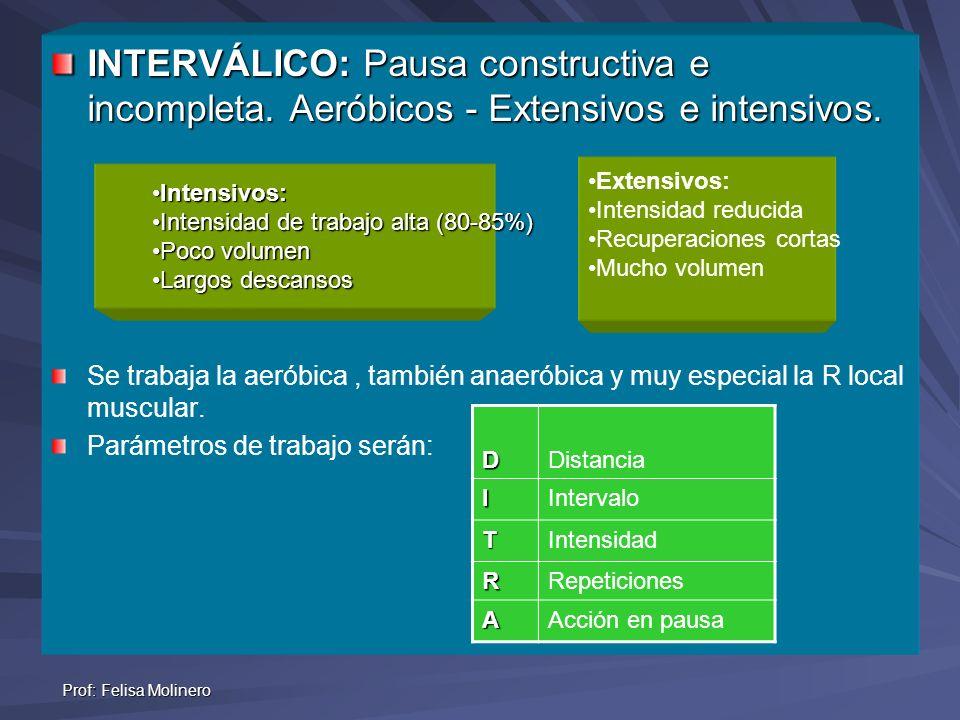 Prof: Felisa Molinero INTERVÁLICO: Pausa constructiva e incompleta. Aeróbicos - Extensivos e intensivos. Se trabaja la aeróbica, también anaeróbica y