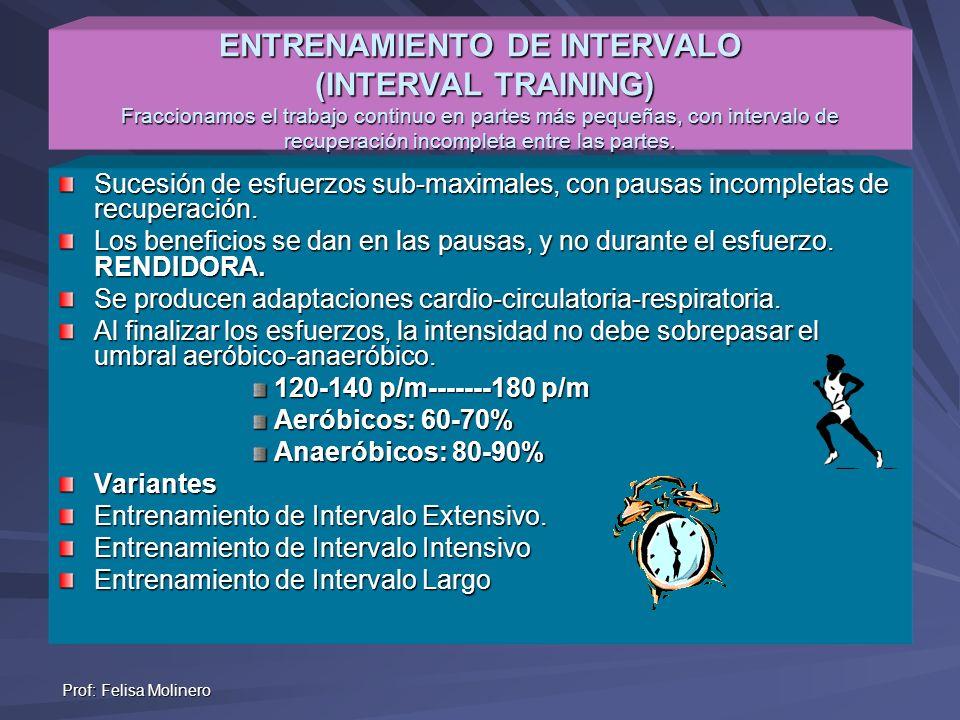 Prof: Felisa Molinero ENTRENAMIENTO DE INTERVALO (INTERVAL TRAINING) Fraccionamos el trabajo continuo en partes más pequeñas, con intervalo de recuper