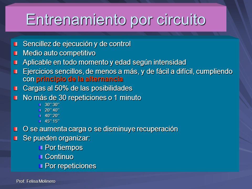Prof: Felisa Molinero Entrenamiento por circuito Sencillez de ejecución y de control Medio auto competitivo Aplicable en todo momento y edad según int