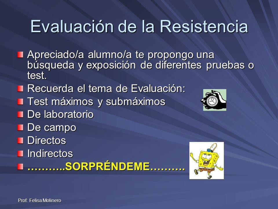 Prof: Felisa Molinero Evaluación de la Resistencia Apreciado/a alumno/a te propongo una búsqueda y exposición de diferentes pruebas o test. Recuerda e