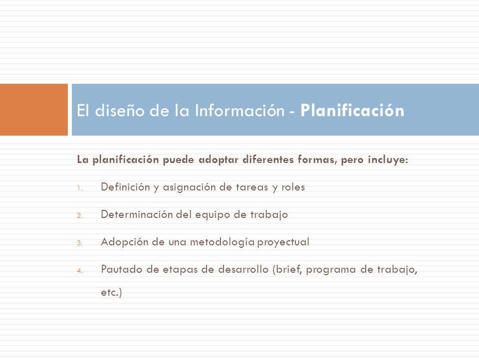 La planificación puede adoptar diferentes formas, pero incluye: 1. Definición y asignación de tareas y roles 2. Determinación del equipo de trabajo 3.