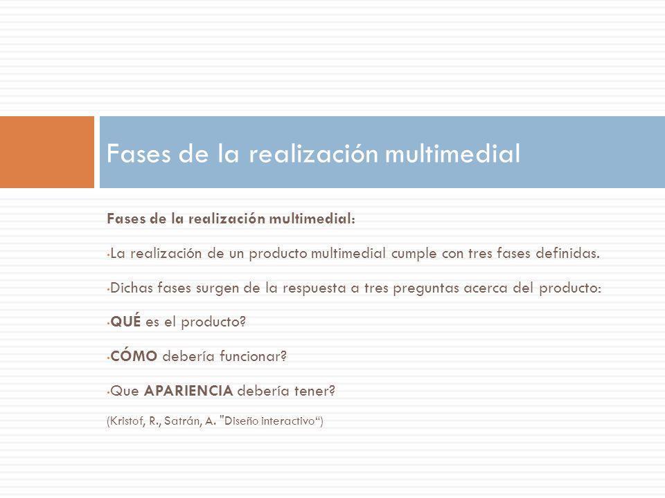 Fases de la realización multimedial: La realización de un producto multimedial cumple con tres fases definidas. Dichas fases surgen de la respuesta a