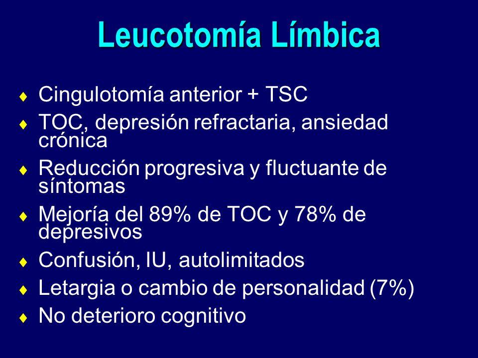 Leucotomía Límbica Cingulotomía anterior + TSC TOC, depresión refractaria, ansiedad crónica Reducción progresiva y fluctuante de síntomas Mejoría del