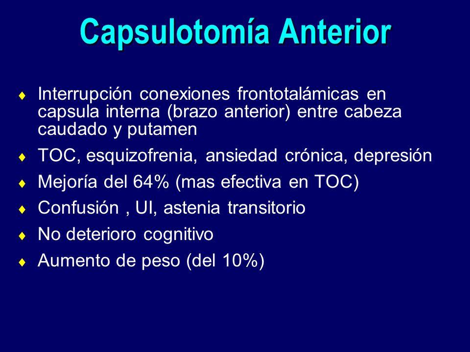 Capsulotomía Anterior Interrupción conexiones frontotalámicas en capsula interna (brazo anterior) entre cabeza caudado y putamen TOC, esquizofrenia, a