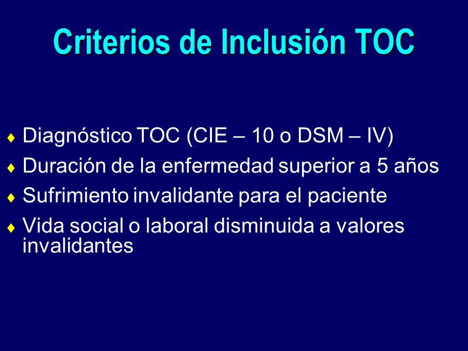 Criterios de Inclusión TOC Diagnóstico TOC (CIE – 10 o DSM – IV) Duración de la enfermedad superior a 5 años Sufrimiento invalidante para el paciente
