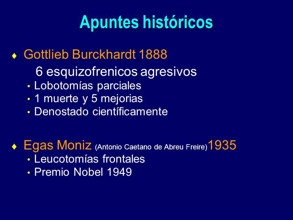 Apuntes históricos Gottlieb Burckhardt 1888 6 esquizofrenicos agresivos Lobotomías parciales 1 muerte y 5 mejorias Denostado científicamente Egas Moni