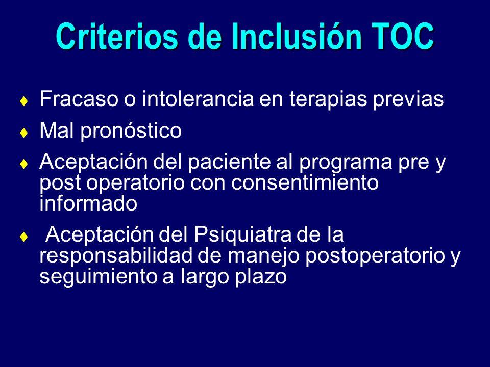 Criterios de Inclusión TOC Fracaso o intolerancia en terapias previas Mal pronóstico Aceptación del paciente al programa pre y post operatorio con con