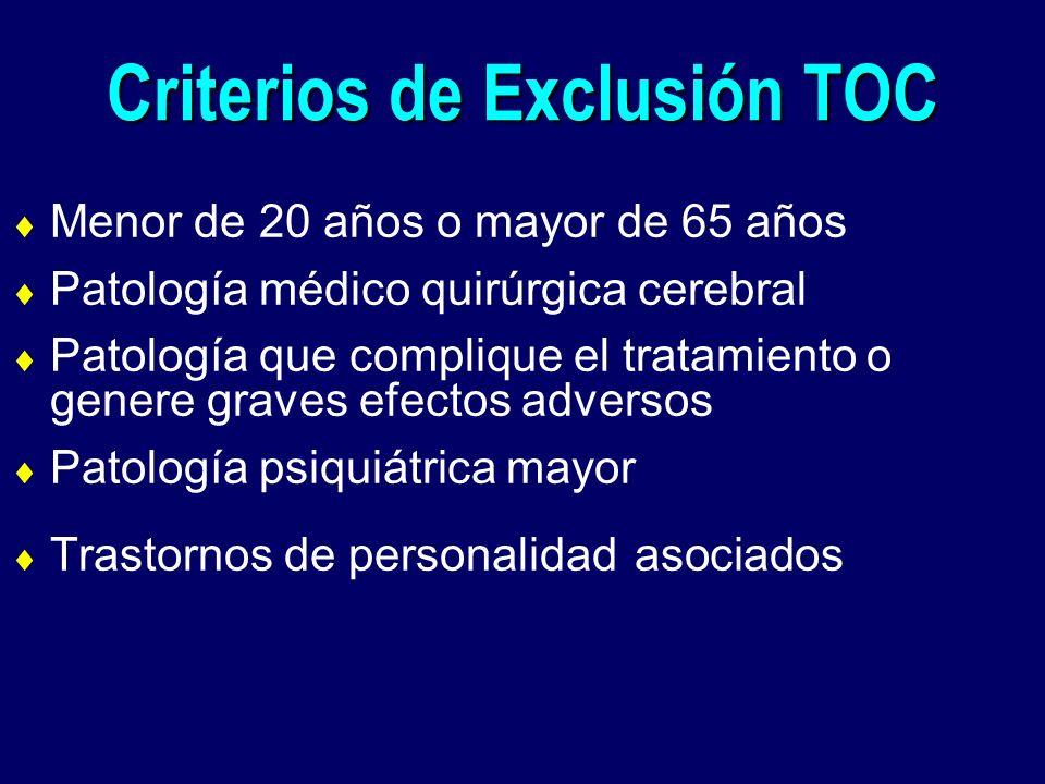 Criterios de Exclusión TOC Menor de 20 años o mayor de 65 años Patología médico quirúrgica cerebral Patología que complique el tratamiento o genere gr