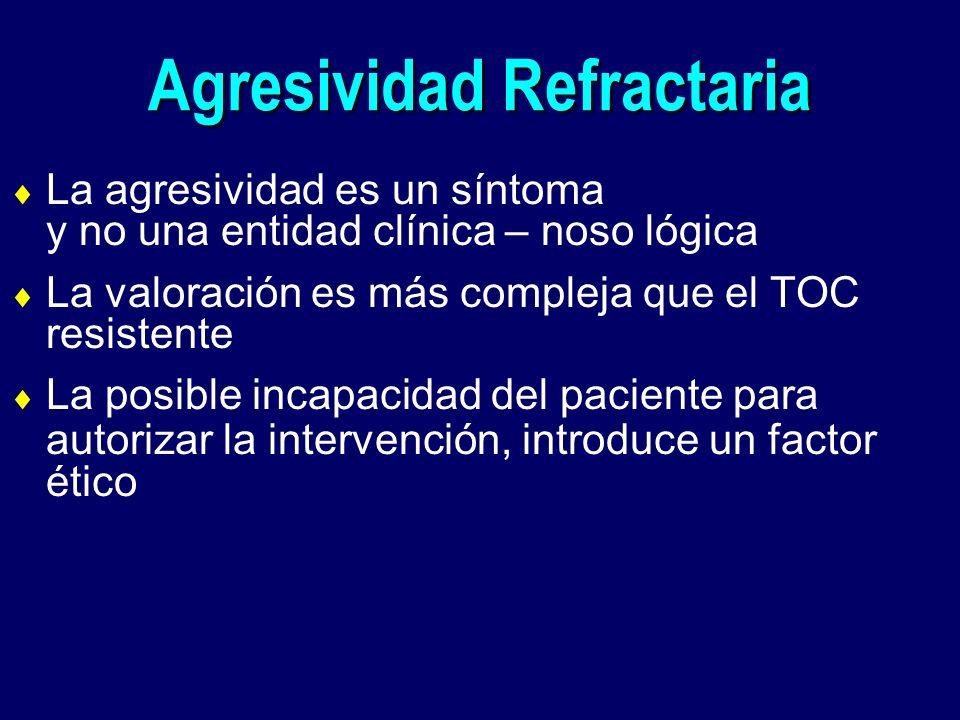 Agresividad Refractaria La agresividad es un síntoma y no una entidad clínica – noso lógica La valoración es más compleja que el TOC resistente La pos
