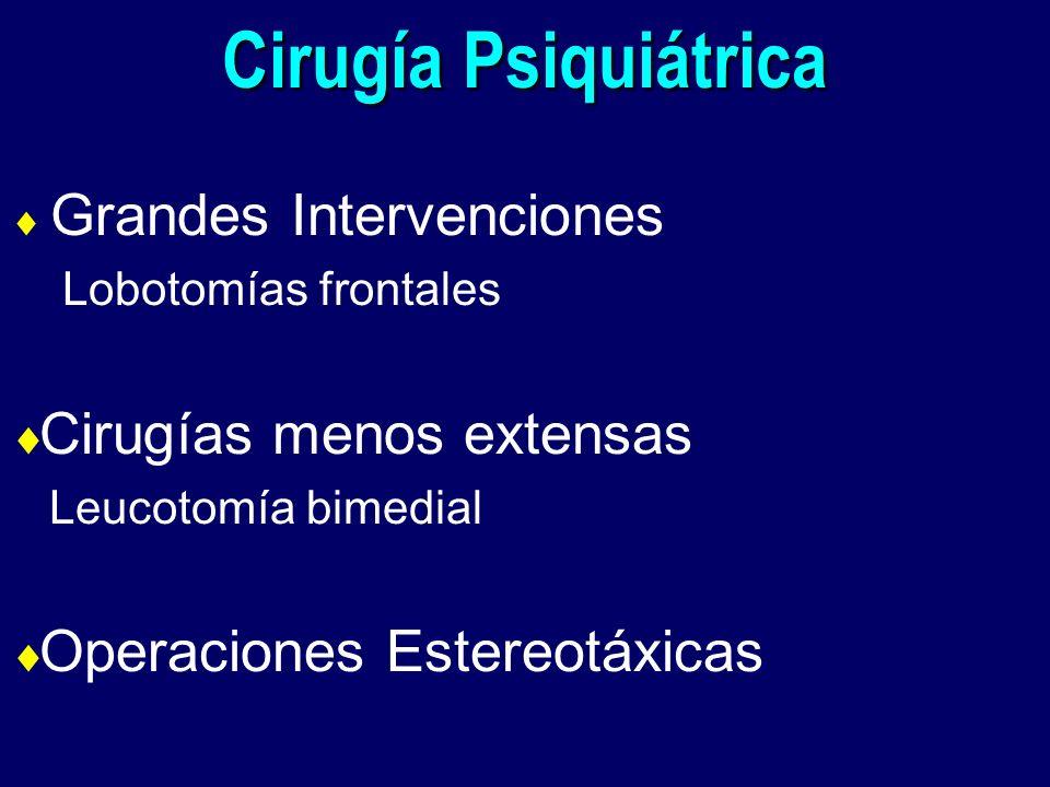 Cirugía Psiquiátrica Grandes Intervenciones Lobotomías frontales Cirugías menos extensas Leucotomía bimedial Operaciones Estereotáxicas