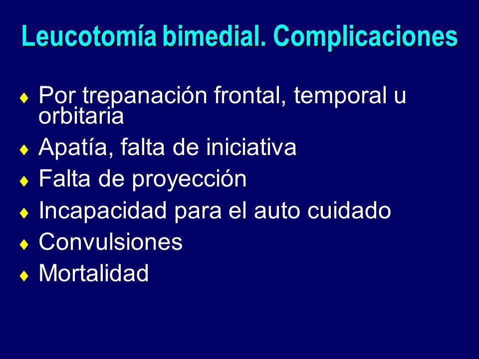 Leucotomía bimedial. Complicaciones Por trepanación frontal, temporal u orbitaria Apatía, falta de iniciativa Falta de proyección Incapacidad para el