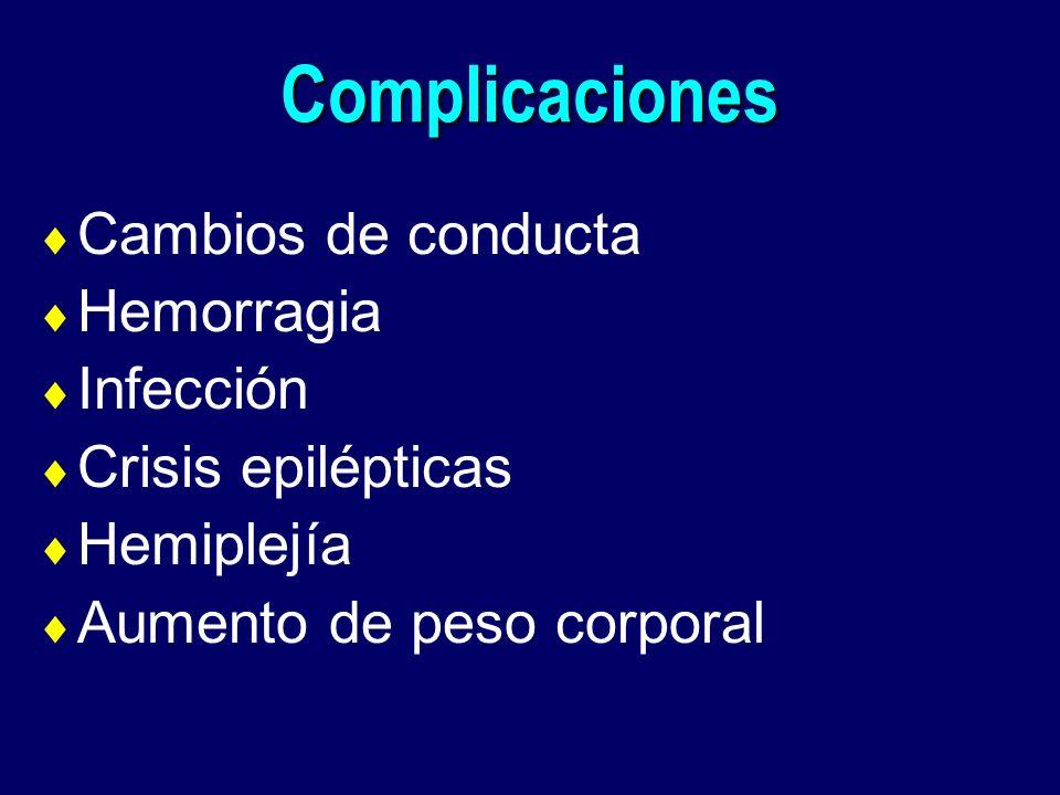 Complicaciones Cambios de conducta Hemorragia Infección Crisis epilépticas Hemiplejía Aumento de peso corporal