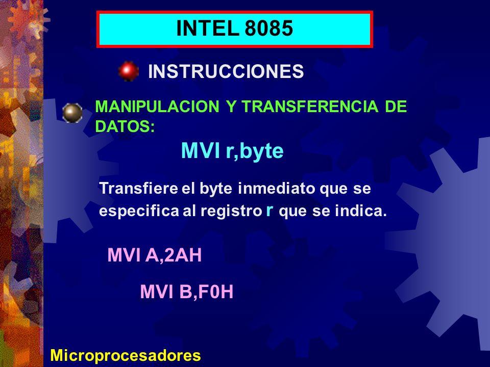 Microprocesadores INTEL 8085 INSTRUCCIONES MANIPULACION Y TRANSFERENCIA DE DATOS: MVI r,byte Transfiere el byte inmediato que se especifica al registr
