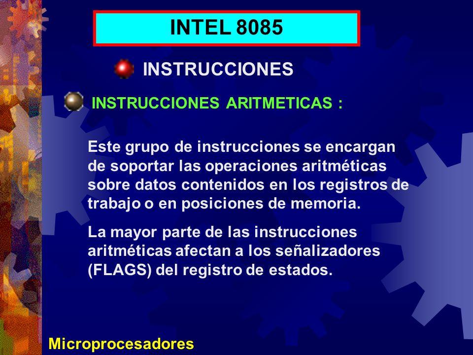 Microprocesadores INTEL 8085 INSTRUCCIONES INSTRUCCIONES ARITMETICAS : Este grupo de instrucciones se encargan de soportar las operaciones aritméticas