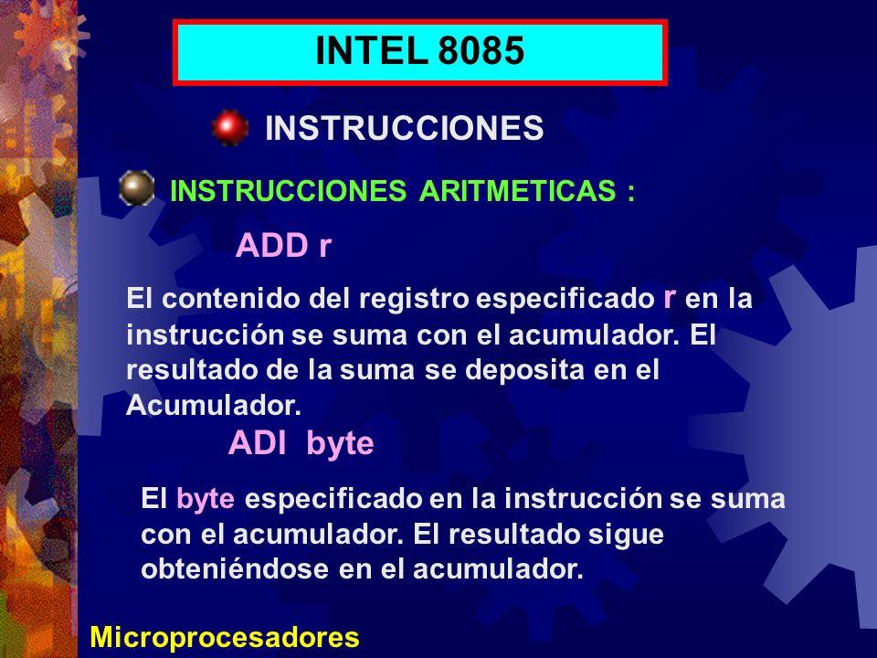 Microprocesadores INTEL 8085 INSTRUCCIONES INSTRUCCIONES ARITMETICAS : El contenido del registro especificado r en la instrucción se suma con el acumu