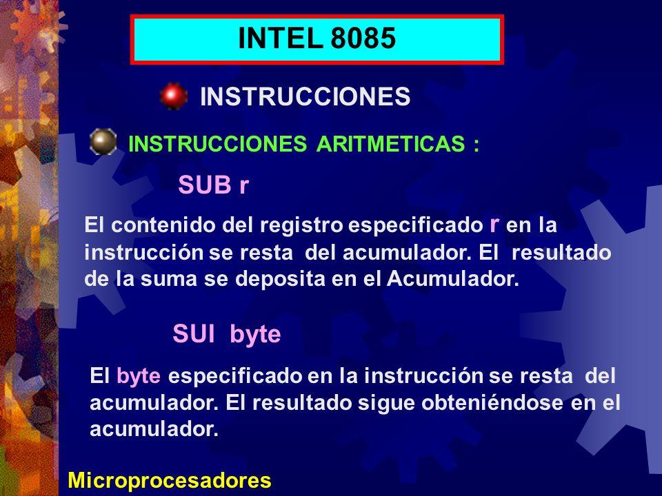Microprocesadores INTEL 8085 INSTRUCCIONES INSTRUCCIONES ARITMETICAS : El contenido del registro especificado r en la instrucción se resta del acumula