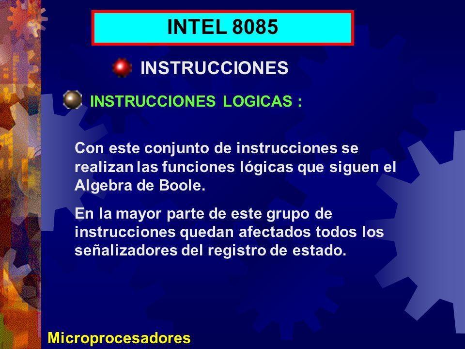 Microprocesadores INTEL 8085 INSTRUCCIONES INSTRUCCIONES LOGICAS : Con este conjunto de instrucciones se realizan las funciones lógicas que siguen el