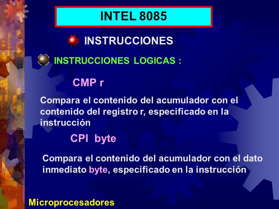 Microprocesadores INTEL 8085 INSTRUCCIONES INSTRUCCIONES LOGICAS : CMP r CPI byte Compara el contenido del acumulador con el contenido del registro r,