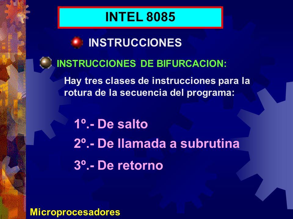 Microprocesadores INTEL 8085 INSTRUCCIONES INSTRUCCIONES DE BIFURCACION: Hay tres clases de instrucciones para la rotura de la secuencia del programa:
