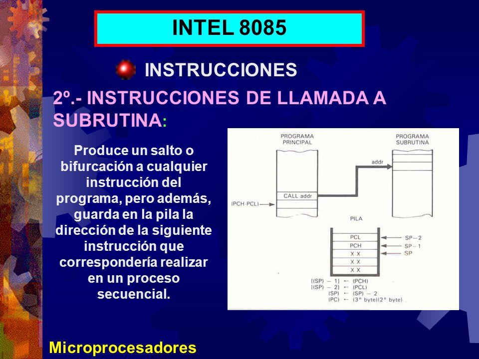 Microprocesadores INTEL 8085 INSTRUCCIONES 2º.- INSTRUCCIONES DE LLAMADA A SUBRUTINA : Produce un salto o bifurcación a cualquier instrucción del prog