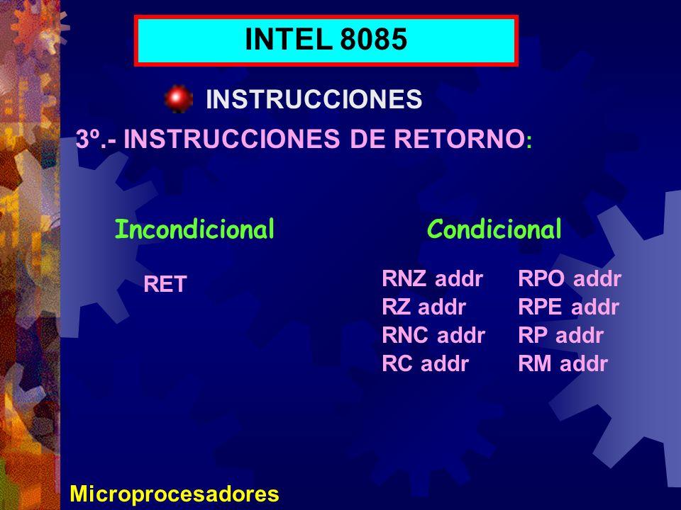Microprocesadores INTEL 8085 INSTRUCCIONES 3º.- INSTRUCCIONES DE RETORNO : IncondicionalCondicional RET RNZ addr RZ addr RNC addr RC addr RPO addr RPE