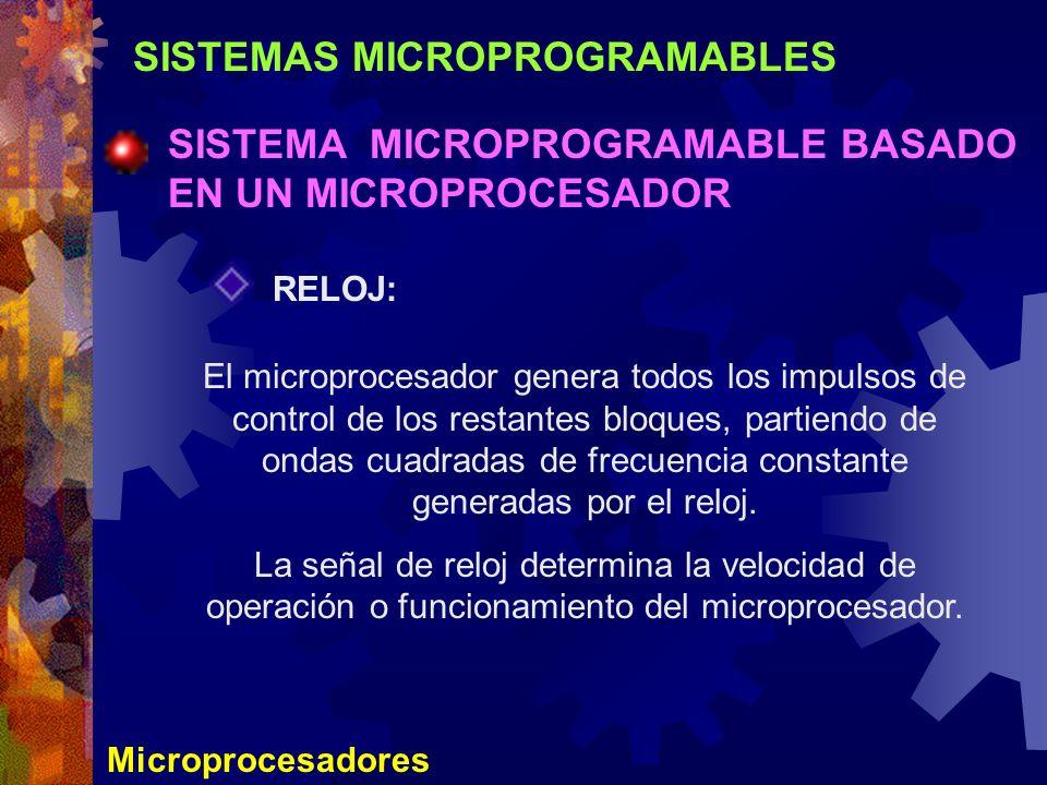 SISTEMAS MICROPROGRAMABLES SISTEMA MICROPROGRAMABLE BASADO EN UN MICROPROCESADOR Microprocesadores RELOJ: El microprocesador genera todos los impulsos
