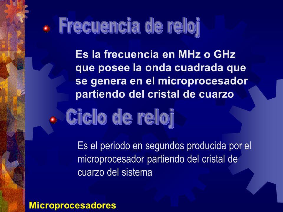 Microprocesadores Es la frecuencia en MHz o GHz que posee la onda cuadrada que se genera en el microprocesador partiendo del cristal de cuarzo Es el p