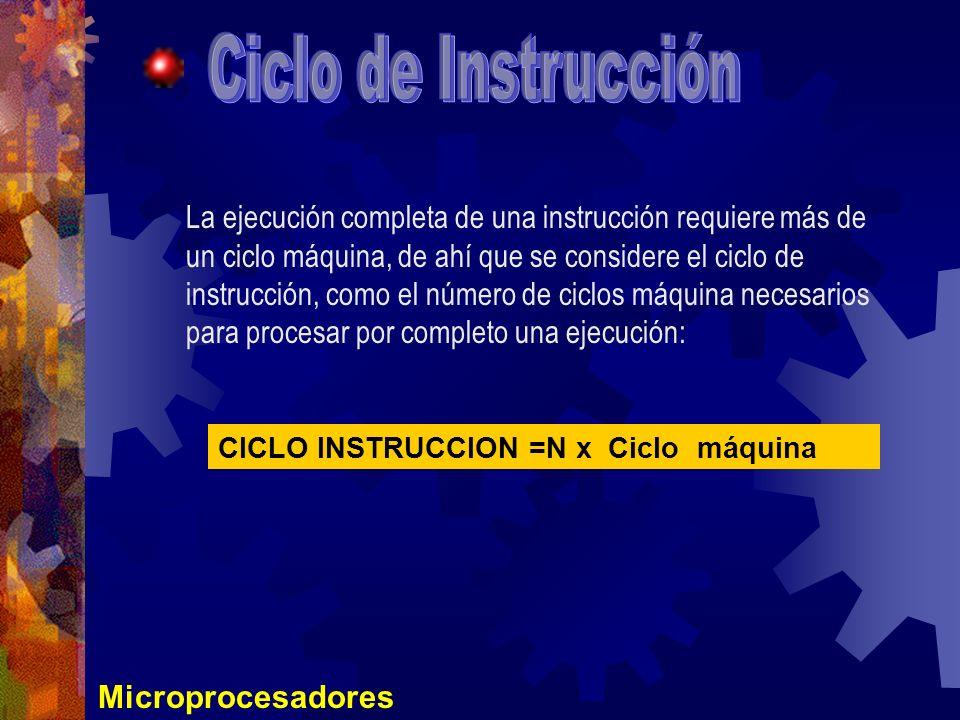 Microprocesadores La ejecución completa de una instrucción requiere más de un ciclo máquina, de ahí que se considere el ciclo de instrucción, como el