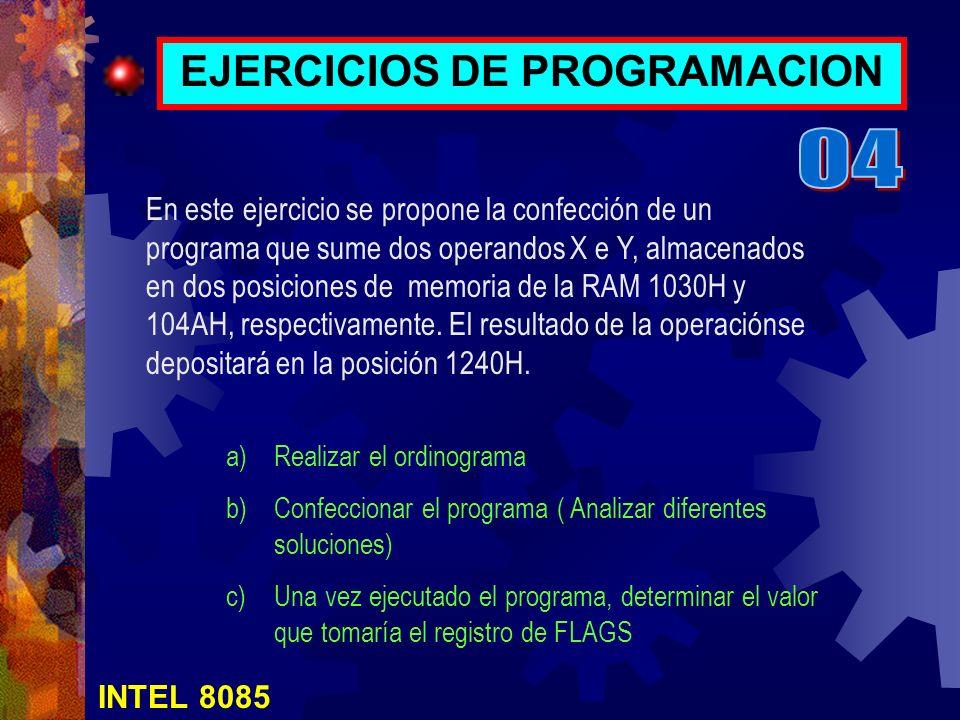 INTEL 8085 EJERCICIOS DE PROGRAMACION a)Realizar el ordinograma b)Confeccionar el programa ( Analizar diferentes soluciones) c)Una vez ejecutado el pr