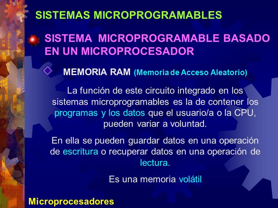 SISTEMAS MICROPROGRAMABLES SISTEMA MICROPROGRAMABLE BASADO EN UN MICROPROCESADOR Microprocesadores MEMORIA RAM (Memoria de Acceso Aleatorio) La funció