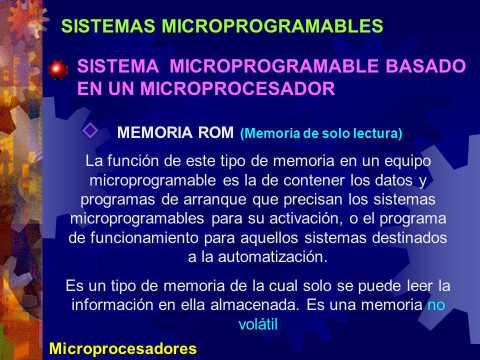 SISTEMAS MICROPROGRAMABLES SISTEMA MICROPROGRAMABLE BASADO EN UN MICROPROCESADOR Microprocesadores MEMORIA ROM (Memoria de solo lectura) La función de