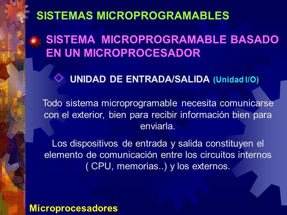 SISTEMAS MICROPROGRAMABLES SISTEMA MICROPROGRAMABLE BASADO EN UN MICROPROCESADOR Microprocesadores UNIDAD DE ENTRADA/SALIDA (Unidad I/O) Todo sistema