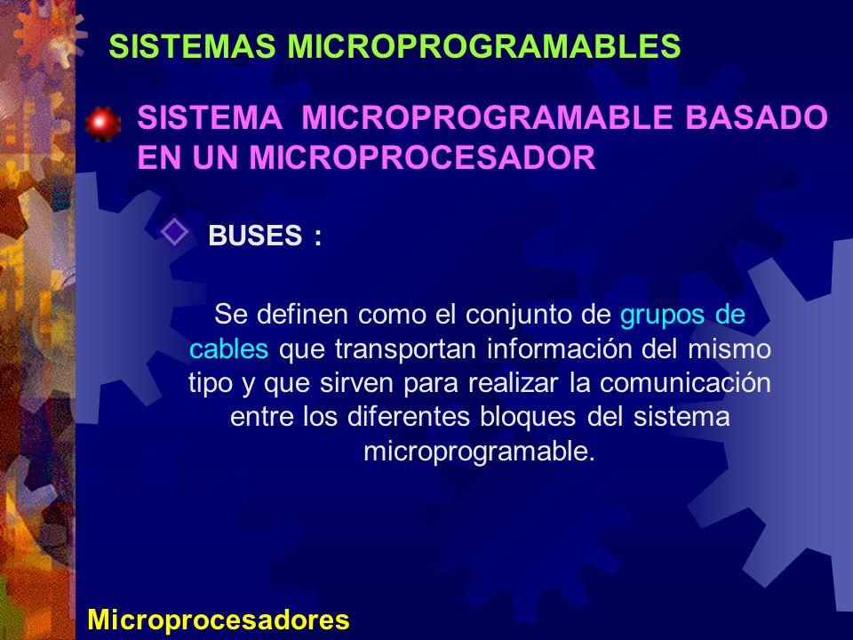 SISTEMAS MICROPROGRAMABLES SISTEMA MICROPROGRAMABLE BASADO EN UN MICROPROCESADOR Microprocesadores BUSES : Se definen como el conjunto de grupos de ca