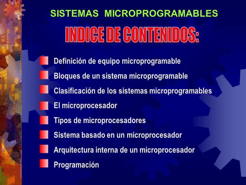 Definición de equipo microprogramable Bloques de un sistema microprogramable Clasificación de los sistemas microprogramables El microprocesador Tipos