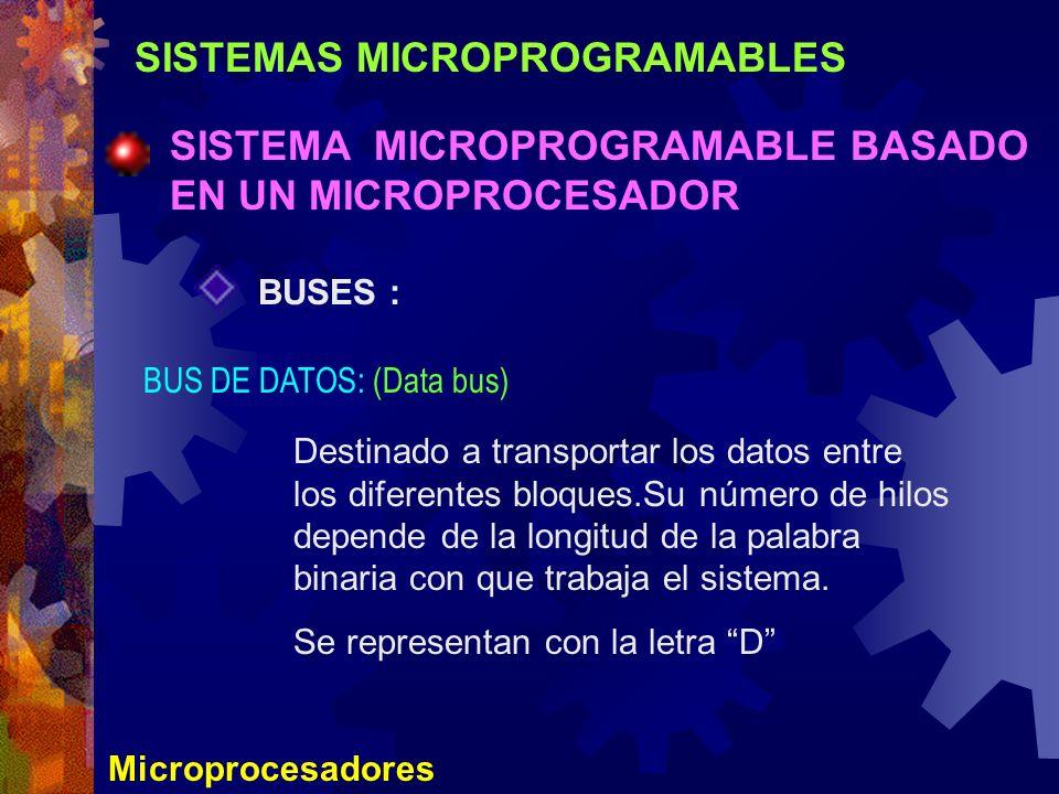 SISTEMAS MICROPROGRAMABLES SISTEMA MICROPROGRAMABLE BASADO EN UN MICROPROCESADOR Microprocesadores BUSES : BUS DE DATOS: (Data bus) Destinado a transp