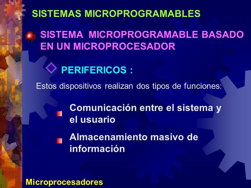 SISTEMAS MICROPROGRAMABLES SISTEMA MICROPROGRAMABLE BASADO EN UN MICROPROCESADOR Microprocesadores PERIFERICOS : Estos dispositivos realizan dos tipos