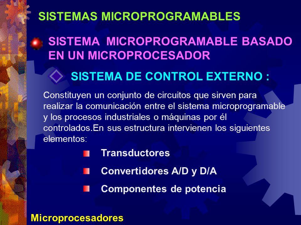 SISTEMAS MICROPROGRAMABLES SISTEMA MICROPROGRAMABLE BASADO EN UN MICROPROCESADOR Microprocesadores SISTEMA DE CONTROL EXTERNO : Constituyen un conjunt