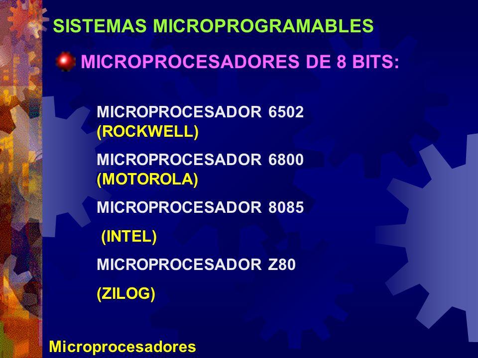 SISTEMAS MICROPROGRAMABLES Microprocesadores MICROPROCESADORES DE 8 BITS: MICROPROCESADOR 6502 (ROCKWELL) MICROPROCESADOR 6800 (MOTOROLA) MICROPROCESA