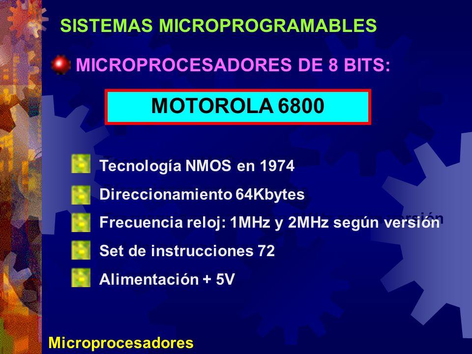 SISTEMAS MICROPROGRAMABLES Microprocesadores MICROPROCESADORES DE 8 BITS: MOTOROLA 6800 Tecnología NMOS en 1974 Direccionamiento 64Kbytes Frecuencia r