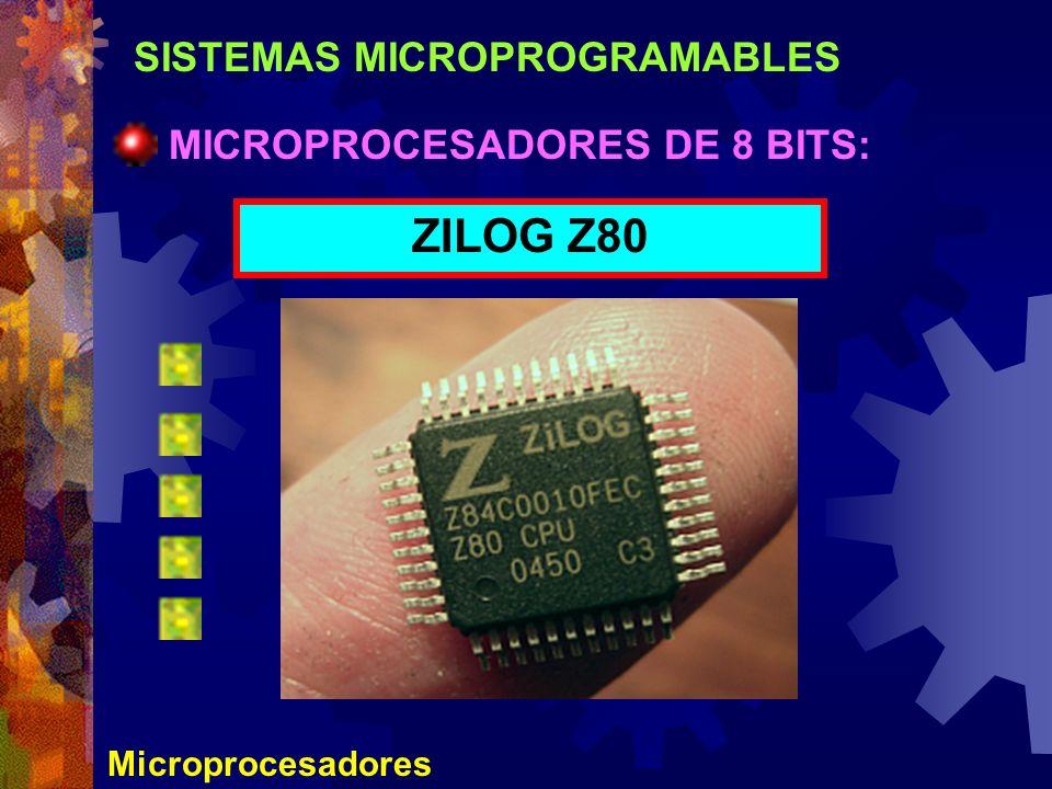 SISTEMAS MICROPROGRAMABLES Microprocesadores MICROPROCESADORES DE 8 BITS: ZILOG Z80
