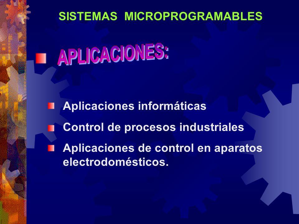 SISTEMAS MICROPROGRAMABLES Aplicaciones informáticas Control de procesos industriales Aplicaciones de control en aparatos electrodomésticos.