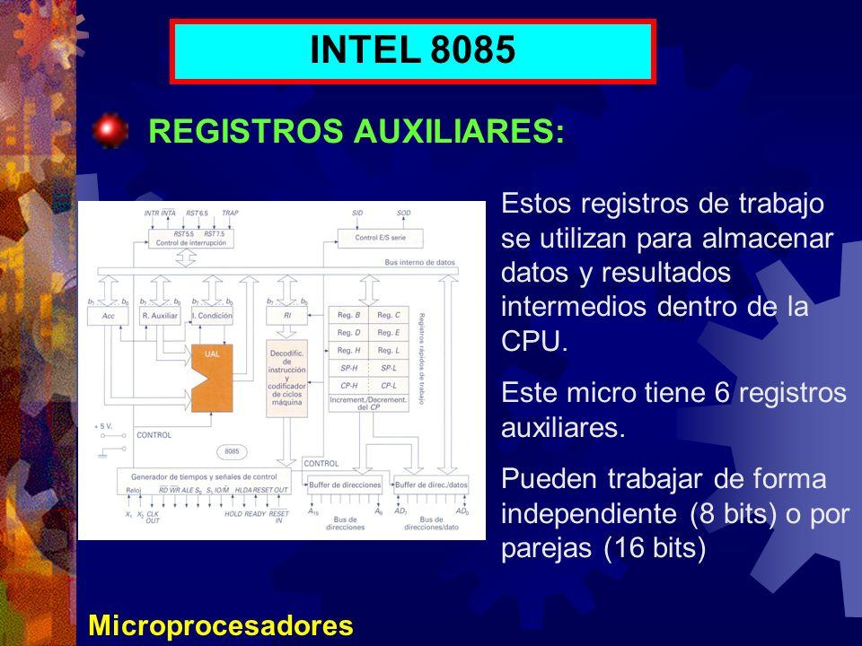 Microprocesadores INTEL 8085 REGISTROS AUXILIARES: Estos registros de trabajo se utilizan para almacenar datos y resultados intermedios dentro de la C