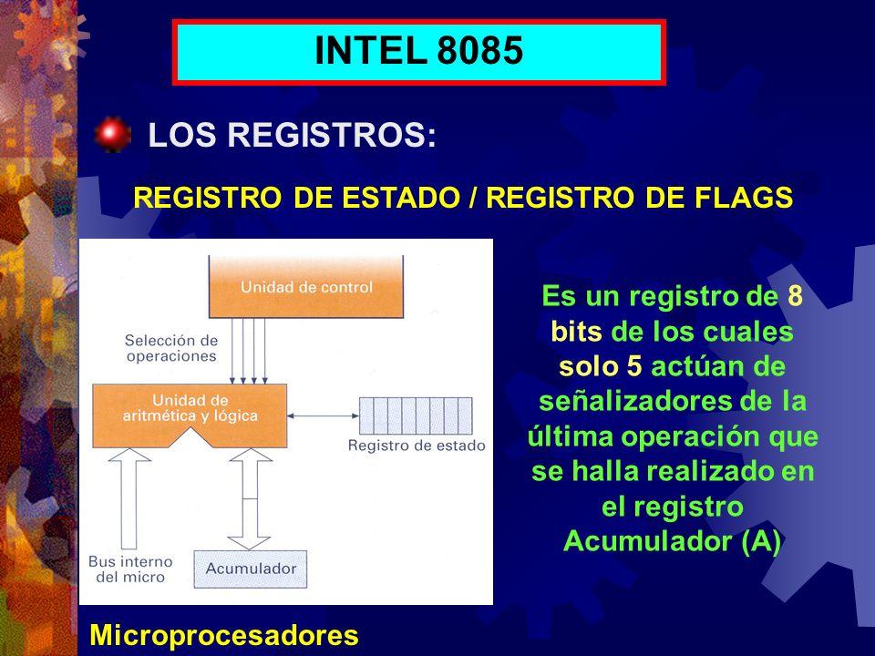 Microprocesadores INTEL 8085 LOS REGISTROS: REGISTRO DE ESTADO / REGISTRO DE FLAGS Es un registro de 8 bits de los cuales solo 5 actúan de señalizador