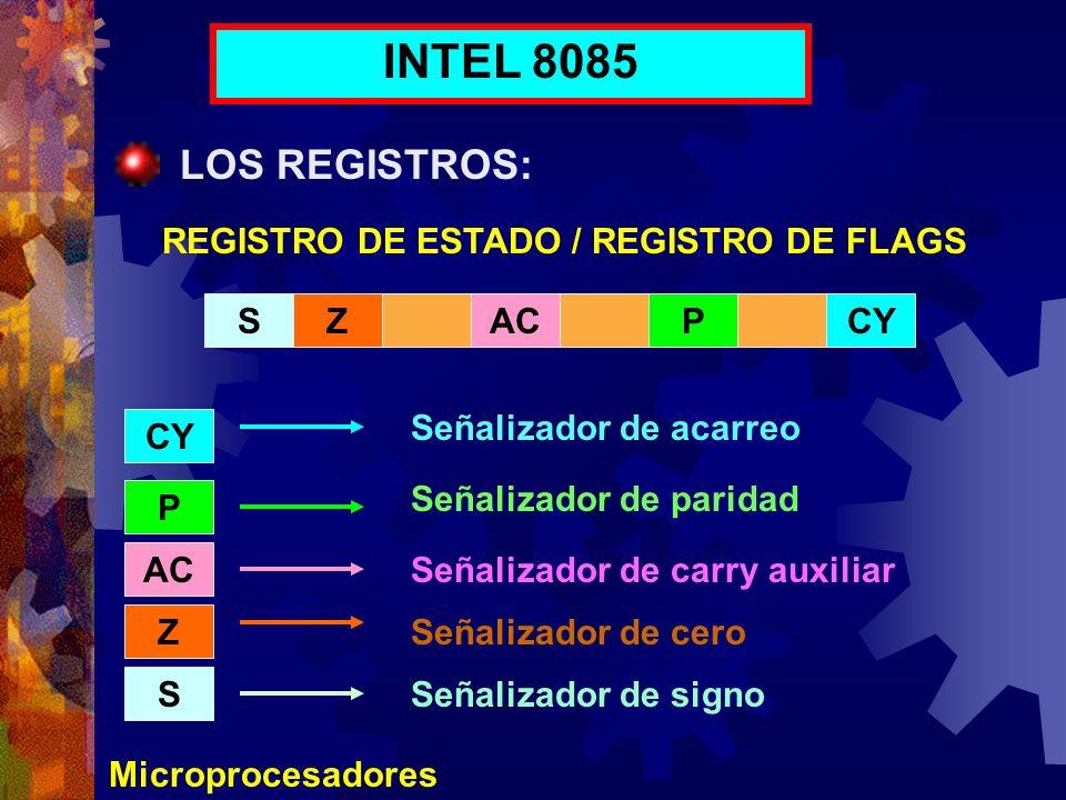 Microprocesadores INTEL 8085 LOS REGISTROS: REGISTRO DE ESTADO / REGISTRO DE FLAGS SZACCYP P AC Z S Señalizador de paridad Señalizador de acarreo Seña