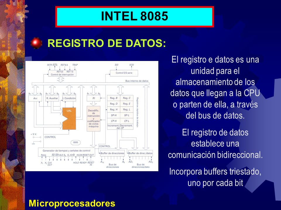 Microprocesadores INTEL 8085 REGISTRO DE DATOS: El registro e datos es una unidad para el almacenamiento de los datos que llegan a la CPU o parten de