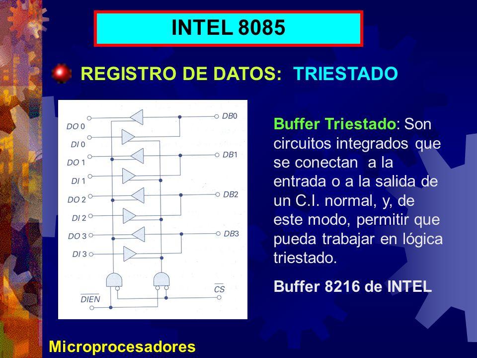 Microprocesadores INTEL 8085 REGISTRO DE DATOS: TRIESTADO Buffer Triestado: Son circuitos integrados que se conectan a la entrada o a la salida de un