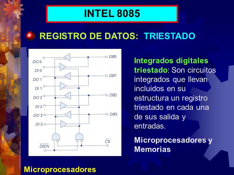 Microprocesadores INTEL 8085 REGISTRO DE DATOS: TRIESTADO Integrados digitales triestado: Son circuitos integrados que llevan incluidos en su estructu
