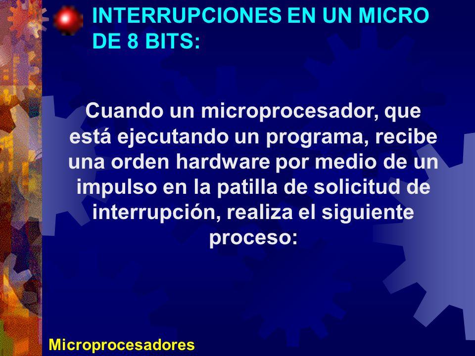 Microprocesadores INTERRUPCIONES EN UN MICRO DE 8 BITS: Cuando un microprocesador, que está ejecutando un programa, recibe una orden hardware por medi