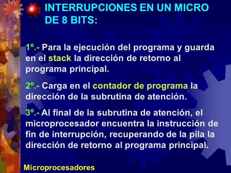 Microprocesadores INTERRUPCIONES EN UN MICRO DE 8 BITS: 1º.- Para la ejecución del programa y guarda en el stack la dirección de retorno al programa p